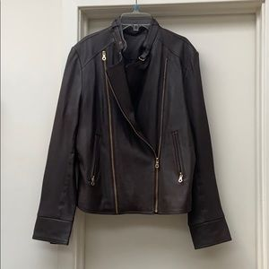 Ecru brown leather jacket xl